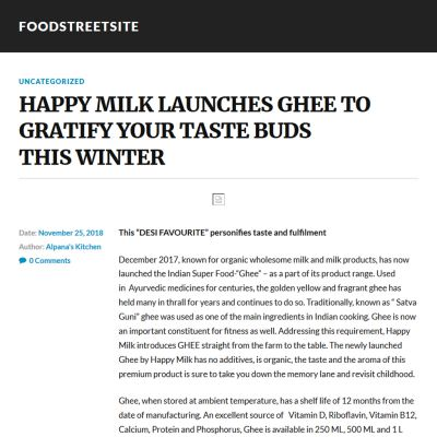 foodstreetsite.wordpress.com / 25th November 2018